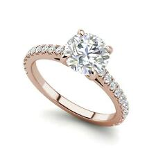 Cut Diamond Engagement Ring Rose Gold Classic 4 Prong 1.4 Carat Vs2/D Round