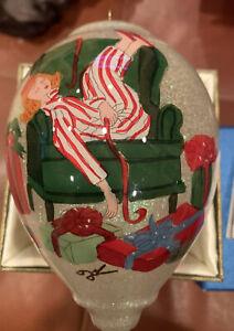 """Pier 1 Christmas Ornament """"No Peeking""""  Li Bien  Handpainted Glass W/ Box 2015"""