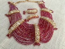 Indian wedding jewellery set, Red gold Plated earrings Statement necklace Maroon