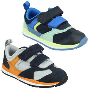 BOYS CLARKS FERRIS RUN TODDLER HOOK & LOOP WALKING SHOES CASUAL TRAINERS SIZE