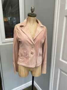 pink real leather ladies jacket - size 10 brand new