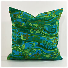 Vintage  60s 70s Green Psychedelic Water Music Fabric By Jonelle Cushion Cover