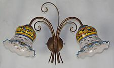 APPLIQUE LAMPADA LED FERRO BATTUTO E CERAMICA DECORATA MANO ANTICO ART.145 NUOVA