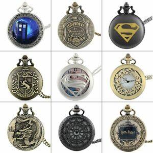 Vintage Quartz Retro Steampunk Pocket Watch Chain Necklace Pendant Antique Gift