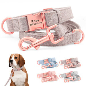 Persoanalised Dog Collar and Lead Set for Small Medium Large Dogs Custom ID Name