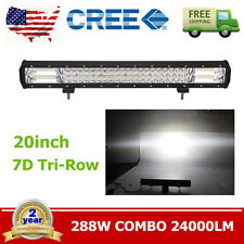 "20"" 288W 7D Tri Row LED WORK LIGHT BAR Driving Lamp Flood Spot Combo Off road"