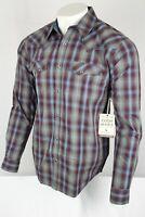 Cody James Men's Plaid Belton Long Sleeve Shirt Medium Burgundy Gray Blue