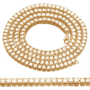 Men's Ladies 10k Yellow Gold Tone 1 Row Tennis Necklace Chain Solitaire Hip Hop