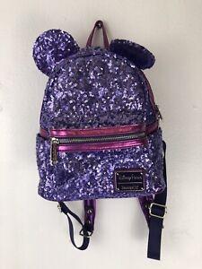 Loungefly Disney Parks Disneyland Purple Potion Sequin Mini Backpack
