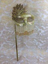 Gold Glitter Hand Held Stick Mask Ball Venetian Masquerade Mask w/Rhinestones