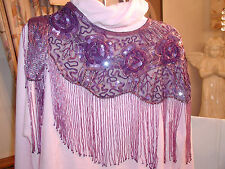 SEQUIN SHAWL WRAP PURPLE LAVENDER PROM FORMAL WEDDING GLITTERING PRETTY GIFT NEW