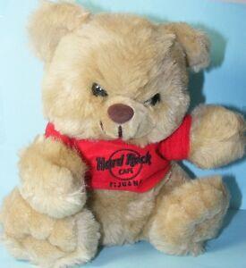 "Hard Rock Cafe TIJUANA 1990s Red TEE T-SHIRT with HRC Logo 8.5"" Teddy BEAR Plush"