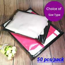 Clear Black Non-woven Packaging Zipper Bags Reclosable For Clothes Underwear A1