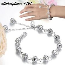 Silver Plated Multi Hollow Beaded Bracelet