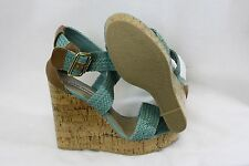 "NEW Womens Sz 9.5 STEVE MADDEN P-Sli Mint Green Platform Wedge 5"" Heels"