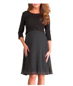 Seraphine Jill Luxe Silk & Ponte Maternity Dress, Black