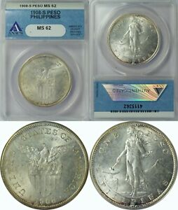 1908-S US/Philippines Peso ~ ANACS MS62 ~ Allen#17.03 ~ Great luster & Appeal