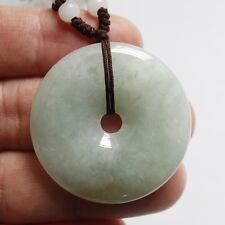 CERTIFIED Natural (A) Icy Light Green Yellow Jadeite JADE Circle Donut Pendant