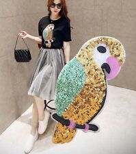 30CM Large Clothing's Sequin Parrot Applique Patch DIY Garment Embroidery Craf