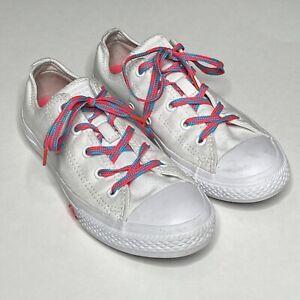 Converse Chuck Taylor Low Ox Neon Lace Shoe Unisex Kids Size 2 White Neon