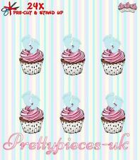 Baby Boys Blue Feet 24 Stand-Up Pre-Cut Wafer Paper Cup cake Toppers
