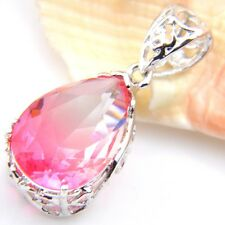 Three-dimensional Fire Watermelon Tourmaline 925 Silver Pendants Chain Necklaces