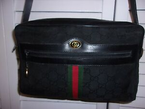 Gucci Ophidia Green Red Web Black GG Canvas Leather Bag Vintage