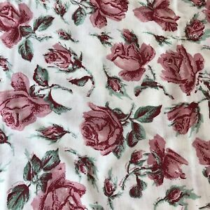 Pink Roses on Ivory by Chanteclaire, 7.5 yds. 100% cotton Fabric Quilt Craft HTF