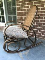 Mid-Century Bentwood & Webbing Rocking Chair By Thonet 1930' s Vintage Rare