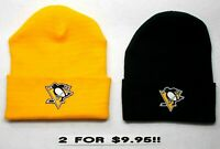 READ LISTING! Pittsburgh Penguins HEAT SET *Flat Logos on 2 Beanie Knit Cap hat