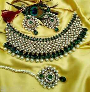 Indian Bollywood Gold Plated Kundan Pearl Necklace Earrings Tikka Bridal JewelKL