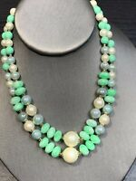 """Vintage 1950's Mint Green Beaded 2 Strand Pearl Ab Necklace  Japan 14-17"""""""