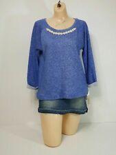 Blue Large Knit Shirt Top Fresh 3/4 Sleeve Heather Crewneck Embellished