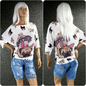 Italy Damen Strickpulli Pullover Print S - XL Zazou Pulli Fledermausärmel Z109