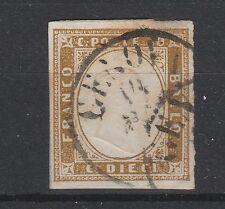 FRANCOBOLLI 1861 SARDEGNA 10 C. BISTRO OLIVA SCURO C/4367