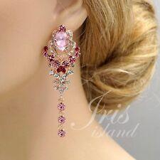 ROSE GOLD Plated Pink Crystal Rhinestone Wedding Drop Dangle Earrings 00934 New