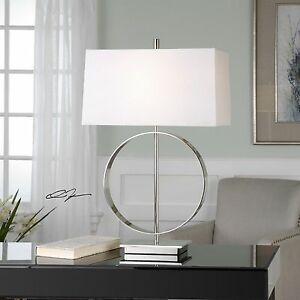 "ADDISON 29"" MODERN ART NICKEL PLATED POLISHED METAL TABLE LAMP LIGHT UTTERMOST"
