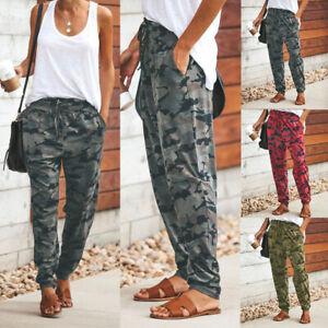 UK Womens Camouflage Harem Pants Leggings Ladies Casual Cargo Trousers Palazzo