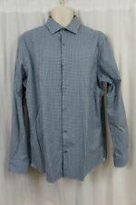 Michael Kors Hombre Camisa Talla XL celeste de Cuadros Algodón manga larga