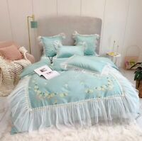 Luxury 80S Egyptian Cotton Lace Flowers Embroidery Bedding Set Cover Bed Sheet