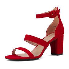 Women's Ankle Strap Open Toe Dress Pump Low Chunky Heel Sandals