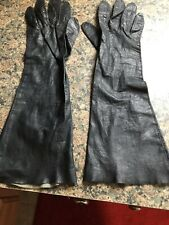 Vintage Long Black Leather Dress Gloves Buttery Soft Marked Sz 6.5 Unlined