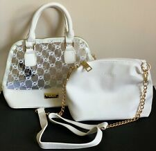 NEW BEBE JODIE CLEAR WHITE LOGO SMALL DOME SATCHEL CROSSBODY SLING BAG PURSE $89