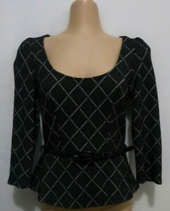 REVIEW Black check 3/4 sleeve peplum top with belt. Size 6