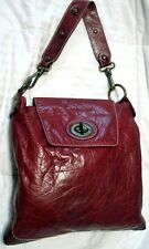 FRANCESCO BIASIA DEEP RED CROCO LEATHER SHOULDER HANDBAG TOTE PURSE LARGE ITALY
