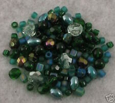 142+ EMERALD CITY GREEN GLASS BEADS MIX Czech+ Lot DOUA
