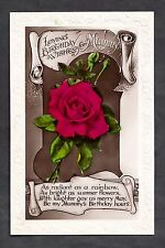Posted 1935 Birthday card Red Rose Mummy as radiant as a rainbow