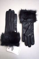 UGG Women's Toscana Shearling Black Leather Smart Tech Gloves, Black Shearling