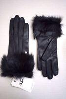 UGG Women's Toscana Shearling Black Leather Smart Tech Gloves, Black Shearling
