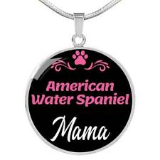 Dog Mom Gift American Water Spaniel Mama Necklace Circle Pendant Stainless Steel
